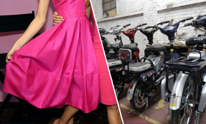 (L) A woman modeling a pink dress. (Dimitrios Kambouris/Getty Images for Victoria's Secret) | (R) Mopeds in China. (Liu Jin/AFP/Getty Images)