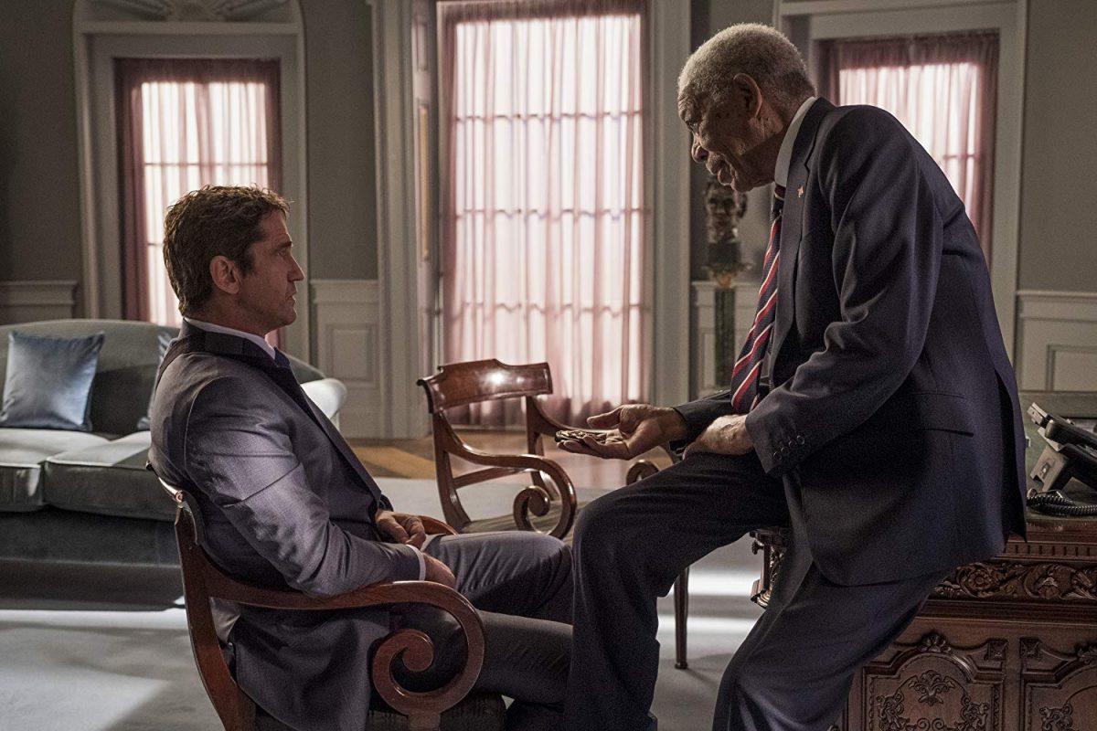 """two men talking in Oval Office in """"Angel Has Fallen"""""""