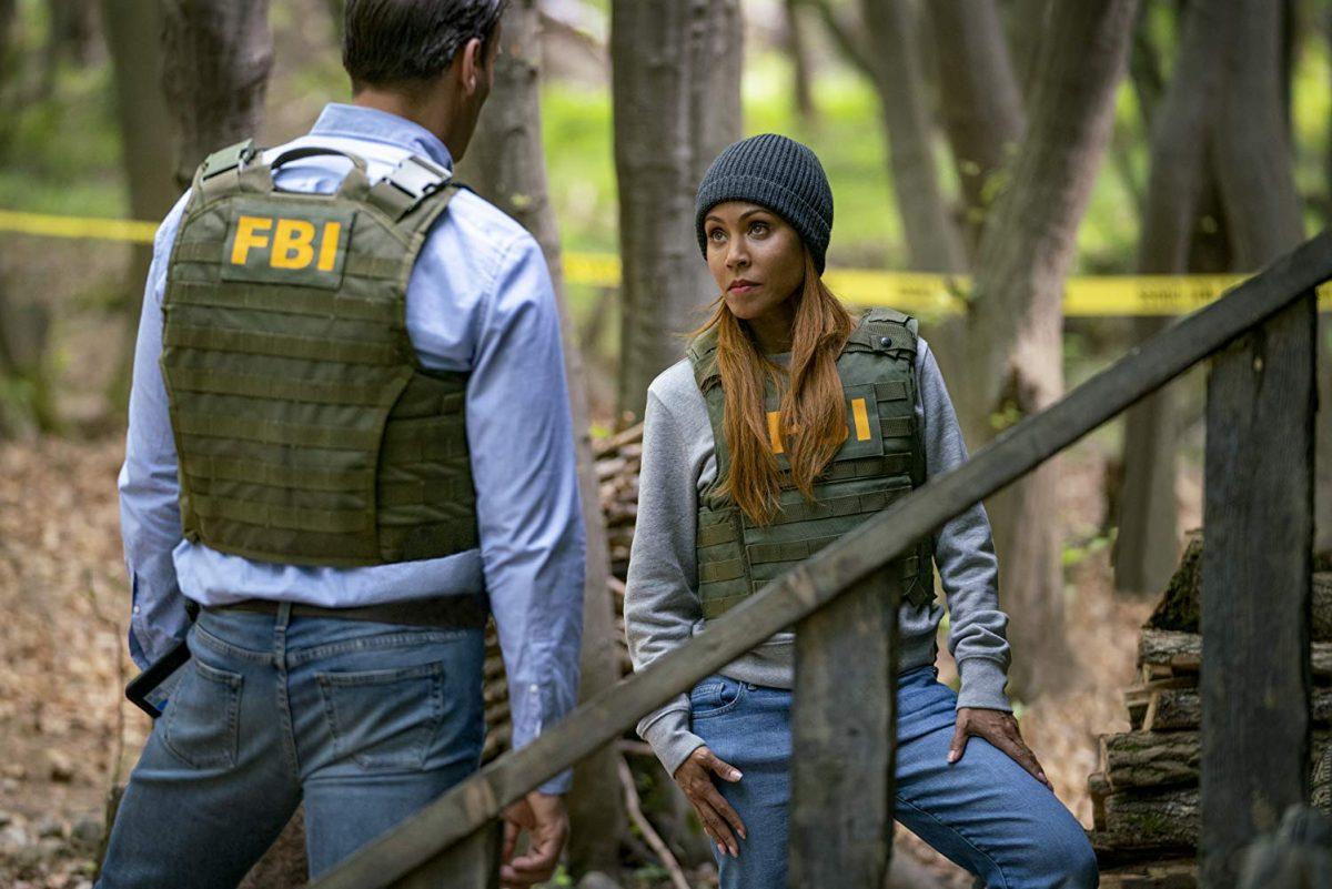 "Two FBI agents in the woods in ""Angel Has Fallen"""