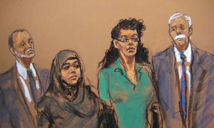 Sketches of alleged ISIS-inspired bomb plot perps Noelle Velentzas and Asia Siddiqui. (CNN)