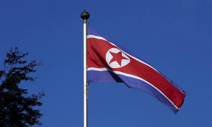 A North Korean flag flies on a mast at the Permanent Mission of North Korea in Geneva October 2, 2014.   (Reuters/Denis Balibouse)