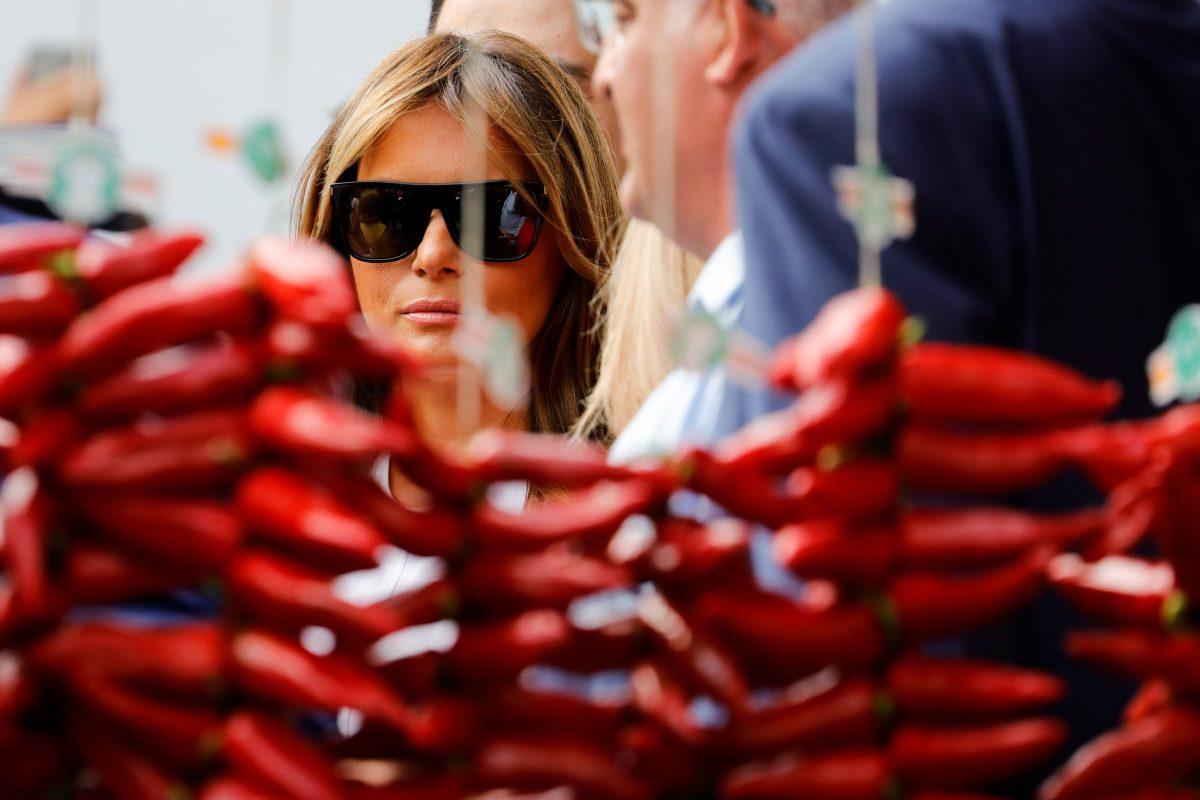 First Lady Melania Trump looks