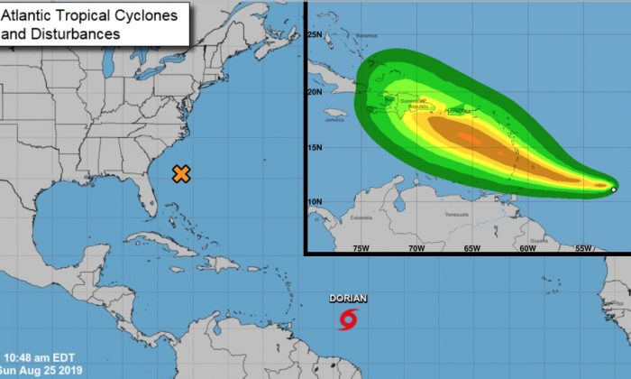 Atlantic Tropical Cyclones and Disturbances and Tropical-Storm-Force-Wind Speed Probabilities graphics. (National Hurricane Center)