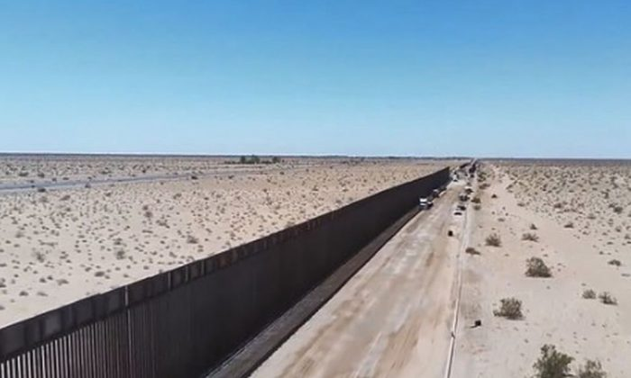 The CBP showed a new section of steel bollard wall near San Luis, Arizona, over the weekend (CPB)