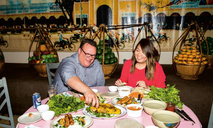 Chris Shepherd (L) with friend, mentor, and talented chef Jacklyn Pham, who runs the Vietnamese restaurant Saigon Pagolac with her father, Long. (Julie Soefer)