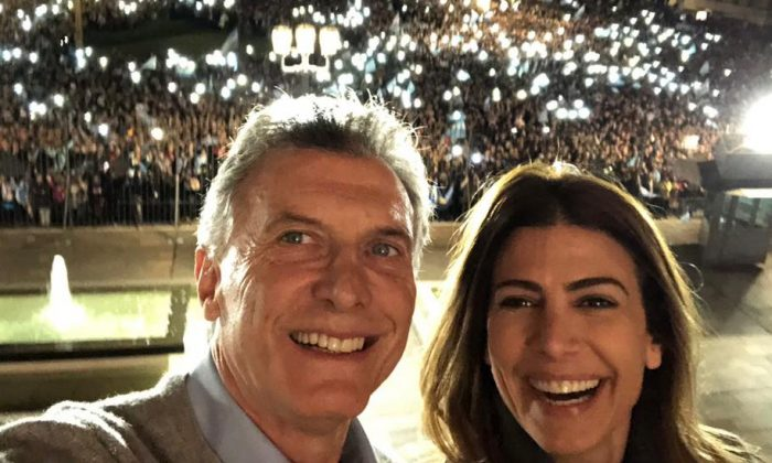 Argentine President Mauricio Macri thanks his supporters from the presidential palace in Buenos Aires, Argentina, with his wife María Juliana Awada on Aug. 24, 2019. (Facebook)
