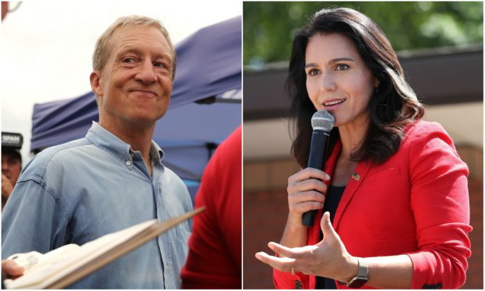 L: Tom Steyer, a Democratic presidential candidate, talks with fairgoers while walking around the Iowa State Fair on Aug. 11, 2019. (Chip Somodevilla/Getty Images) R: Democratic presidential candidate Rep. Tulsi Gabbard (D-Hawaii) speaks at the Iowa State Fair in Des Moines, Iowa on Aug. 9, 2019. (Chip Somodevilla/Getty Images)