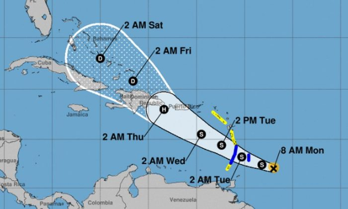 Tropical Storm Dorian has triggered warnings across the Caribbean islands on Aug. 26, and it could track near Puerto Rico as a hurricane later in the week. (NHC)