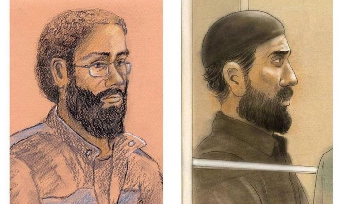 Ontario's highest court has ordered a new trial for two men found guilty of terrorism charges in connection with a plot to derail a passenger train. Raed Jaser (R) and Chiheb Esseghaier (L) are pictured in a composite of two courtroom illustrations. (Tammy Hoy, John Mantha/The Canadian Press)