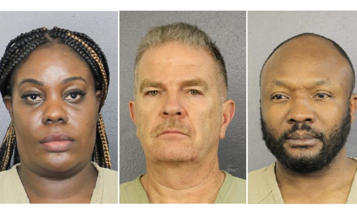 (L-R) Altheia Meggie, 36, Jorge Carballo, 61, and Sergo Colin, 45, in Broward County. (Broward County Sheriff's Office/Handout via Reuters)