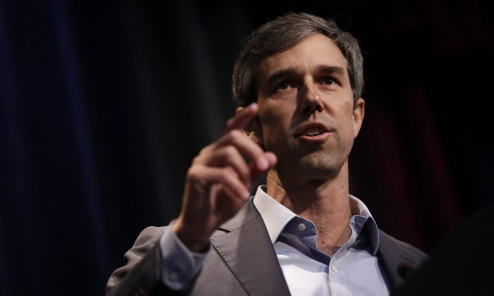 Democratic presidential candidate and former Texas Rep. Beto O'Rourke speaks at the Iowa Federation Labor Convention in Altoona, Iowa, on Aug. 21, 2019. (Photo by Joshua Lott/Getty Images)