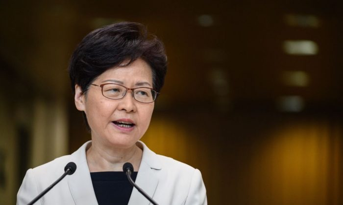 Hong Kong leader Carrie Lam speaks at a press conference in Hong Kong on Aug. 27, 2019. (Philip Fong/AFP/Getty Images)