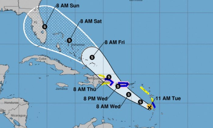 Tropical Storm Dorian has weakened as it approaches the Caribbean. (NHC)