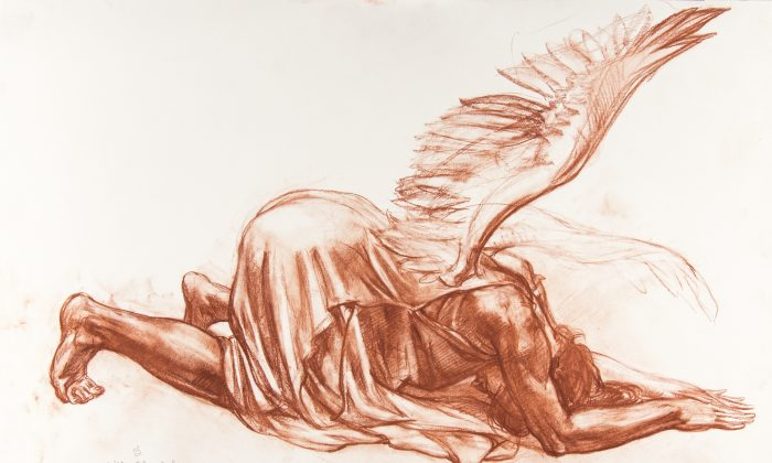 """""""Annunciation Angel,"""" by Niko Chocheli. Sanguine on paper. One of a number of preparatory drawings for """"The Annunciation,"""" a large oil painting commissioned by the renowned La Salle University Art Museum when Chocheli was artist-in-residence. All drawings were made as educational tools to demonstrate a classical approach to creating a painting. (La Salle University Art Museum)"""
