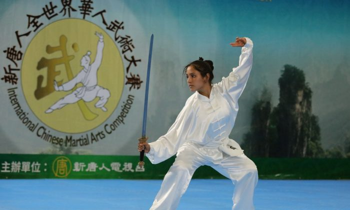 Laura Franco Gomez won the Silver Award in the Women's Armed Division of the 6th New Tang Dynasty Wushu Competition. (Zhang Xuehui/The Epoch Times)