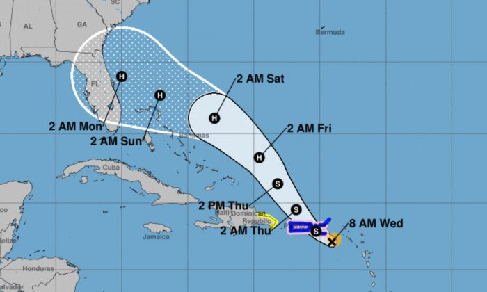 Coastal Watches/Warnings and Forecast Cone for the storm center. (National Hurricane Center)