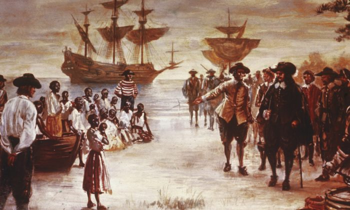 Engraving shows the arrival of a Dutch slave ship with a group of African slaves for sale, Jamestown, Va., 1619. Hulton Archive/Getty Images