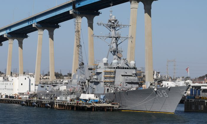 The USS Wayne E. Meyer (DDG-108) Arleigh Burke-class Destroyer sits docked in San Diego, California, on April 12, 2015. (Louis Nastro/Reuters)