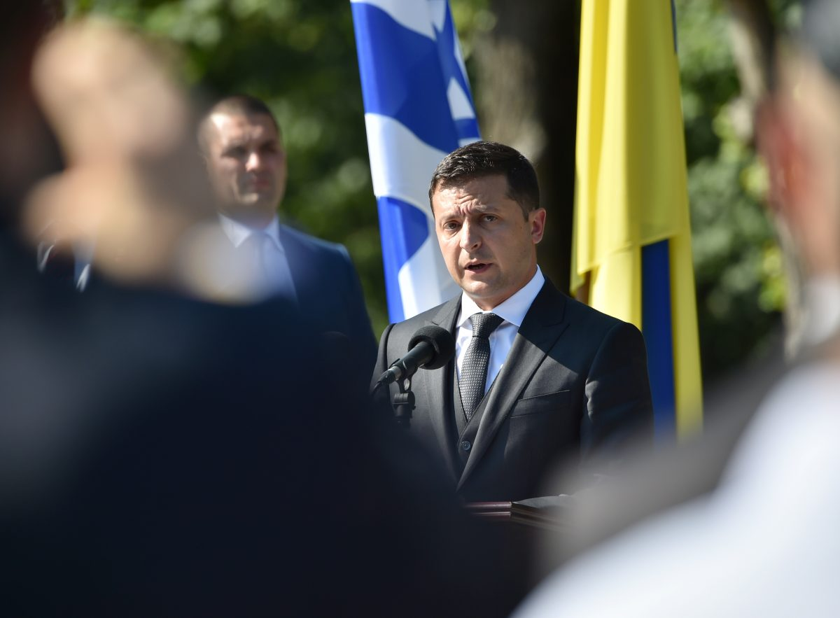 Volodymyr Zelensky delivers a speech