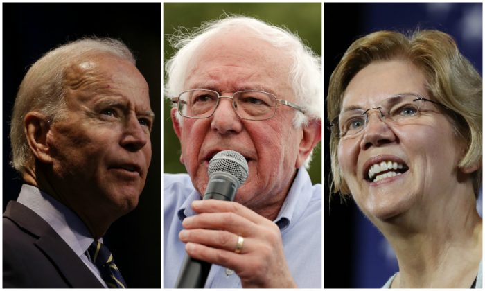 From left to right: Former Vice President Joe Biden speaks during a forum at UNLV in Las Vegas, Nevada on Aug. 3, 2019. (Ethan Miller/Getty Images); Sen. Bernie Sanders (I-Vt.) delivers a campaign speech at the Iowa State Fair in Des Moines, Iowa on Aug. 11, 2019. (Chip Somodevilla/Getty Images); and Sen. Elizabeth Warren (D-Mass.) speaks at Shrine Auditorium during a town hall in Los Angeles, California on Aug. 21, 2019. (Mario Tama/Getty Images)