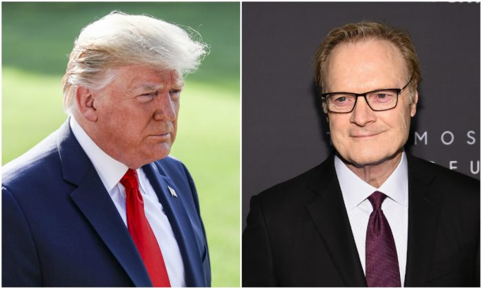 (L) President Donald Trump in a file photograph. (Charlotte Cuthbertson/The Epoch Times) (R) Lawrence O'Donnell, an MSNBC host, in a file photograph. (Theo Wargo/Getty Images for THR)