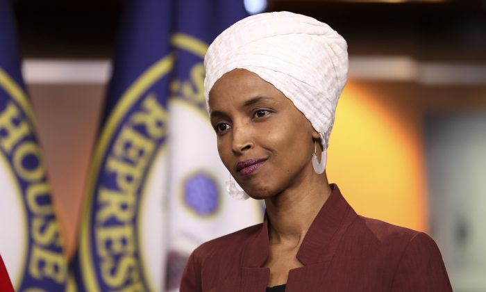 Rep. Ilhan Omar (D-Minn.) speaks at a press conference on the Capitol on July 15, 2019. (Holly Kellum/NTD)