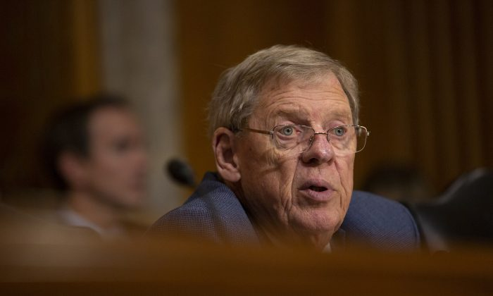 Sen. Johnny Isakson (R-Ga.), in a file photograph, will retire at the end of 2019, he announced on Aug. 28, 2019. (Stefani Reynolds/Getty Images)