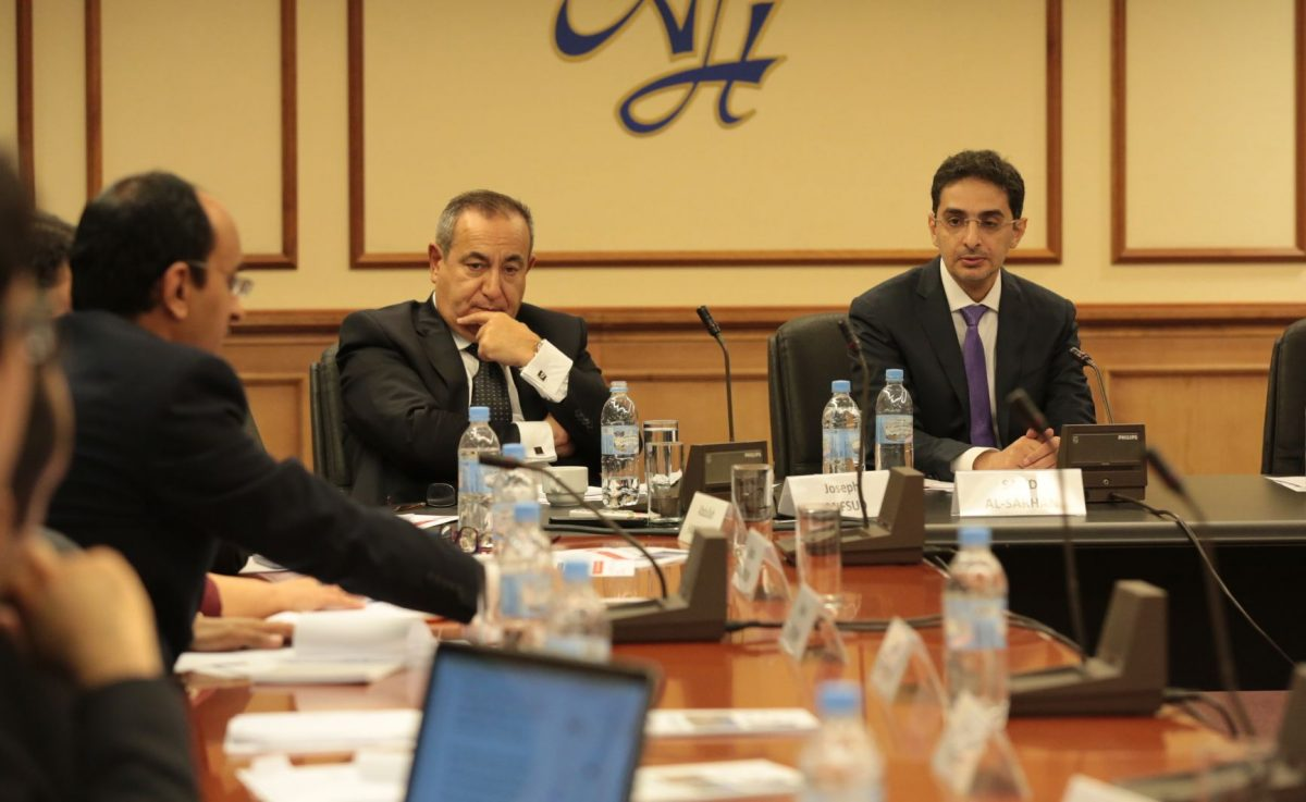 """Saud Al-Sarhan (R), secretary general of the King Faisal Center for Research and Islamic Studies, and Joseph Mifsud (2nd R), at the seminar """"Security Challenges in the Gulf and Prospects for Political Settlement in Yemen"""" in Moscow"""