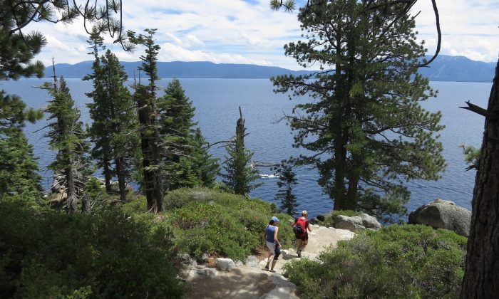 Visitors hike through DL Bliss State Park at Lake Tahoe near South Lake Tahoe, California, on July 22, 2014. (Sean Gallup/Getty Images)
