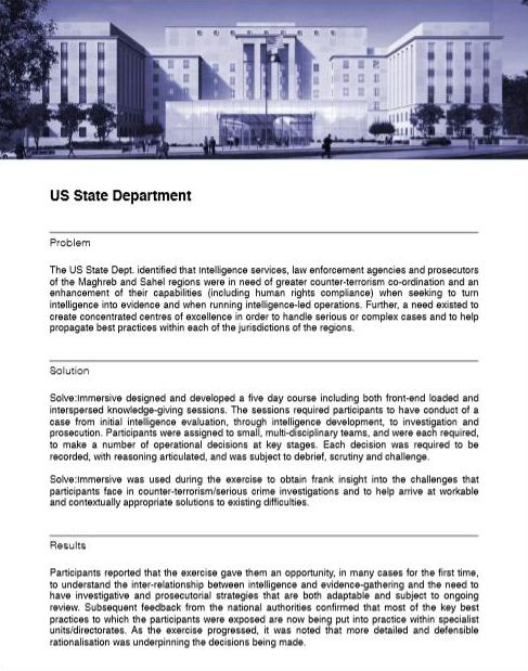A page on the Amicus Legal Consultants website describing counter-terrorism training developed for the U.S. Department of State