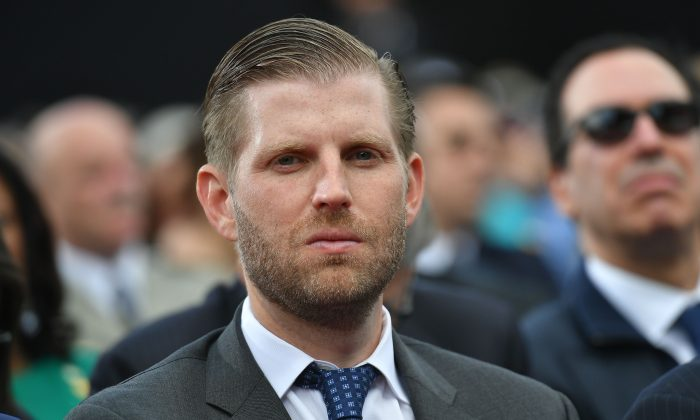 Eric Trump, seen in a file photograph, said that the Trump Organization would be taking legal action after MSNBC ran an unverified report it retracted only after a lawyer for President Donald Trump sent a letter to parent company NBC Universal. (Mandel Ngan/AFP/Getty Images)