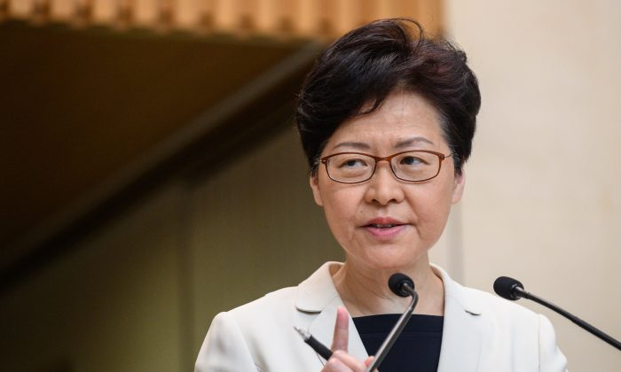 Hong Kong Chief Executive Carrie Lam speaks at a press conference in Hong Kong on Aug. 27, 2019. (Philip Fong/AFP/Getty Images)