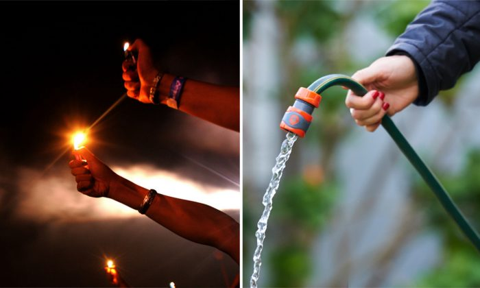 (L) Audience memebrs holding lighters. (China Photos/Getty Images) | (R) A woman holding a hose. (Jaimi Chisholm/Getty Images)
