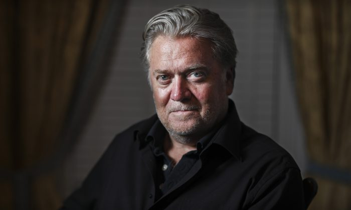 Steve Bannon, former White House Chief Strategist and former executive chairman of Breitbart News, at his home in Washington on Aug. 23, 2019. (Samira Bouaou/The Epoch Times)