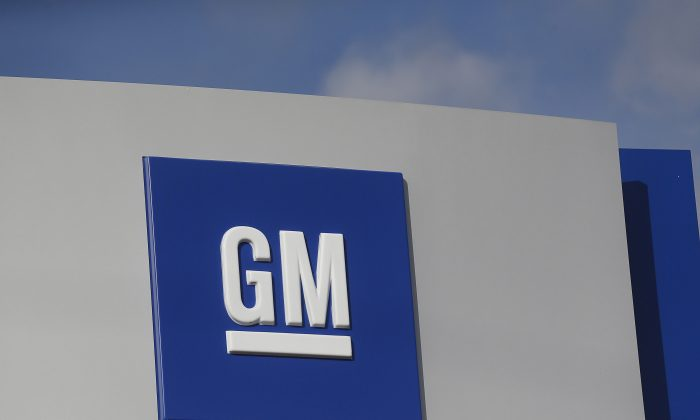 The GM logo is seen at the General Motors Warren Transmission Operations Plant in Warren, Michigan on Oct. 26, 2015. (Rebecca Cook/Reuters)