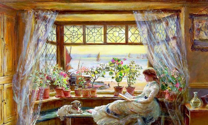 """Reading by the Window"" by Charles James Lewis. (CC0)"