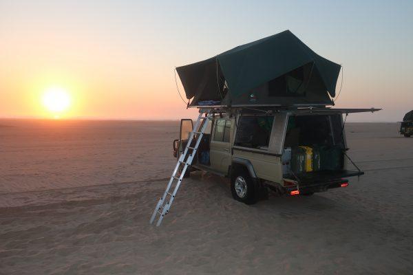 Sunrise in the Namibian desert