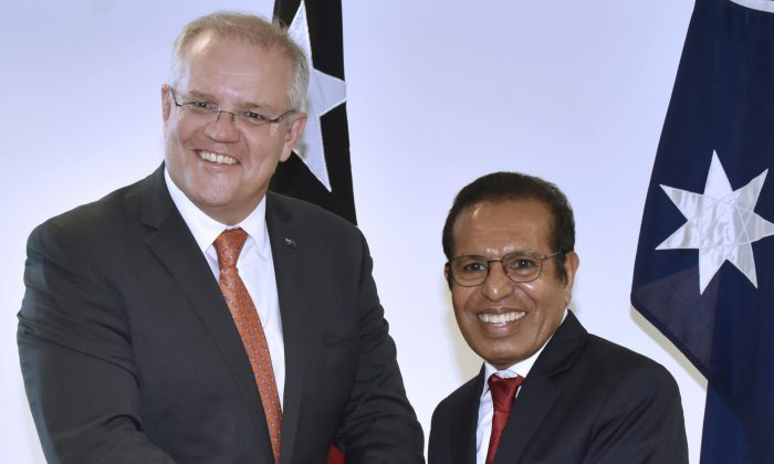 East Timor Prime Minister Taur Matan Ruak (R) meets Australian Prime Minister Scott Morrison (L) at the government office in Dili on August 30, 2019. (Photo by Valentino Dariell DE SOUSA / AFP)        (Photo credit should read VALENTINO DARIELL DE SOUSA/AFP/Getty Images)