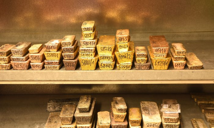 Gold bars and others precious metals are pictured at the Agosi factory in the city of Pforzheim, southwestern Germany, on April 1, 2019. (Patrick Hertzog/AFP/Getty Images)
