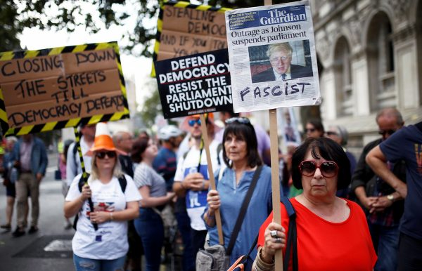 Anti-Brexit protestors demonstrate at Whitehall in London