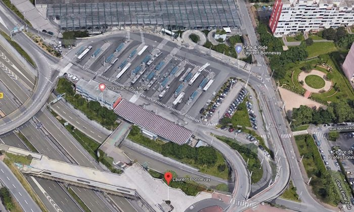 The Laurent-Bonnevay public transit station in the town of Villeurbanne, near Lyon, in France. (Google Maps)