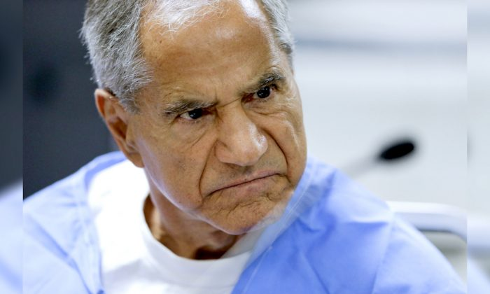 Sirhan Sirhan reacts during a parole hearing at the Richard J. Donovan Correctional Facility in San Diego on Aug. 30, 2019. (Gregory Bull/AP)