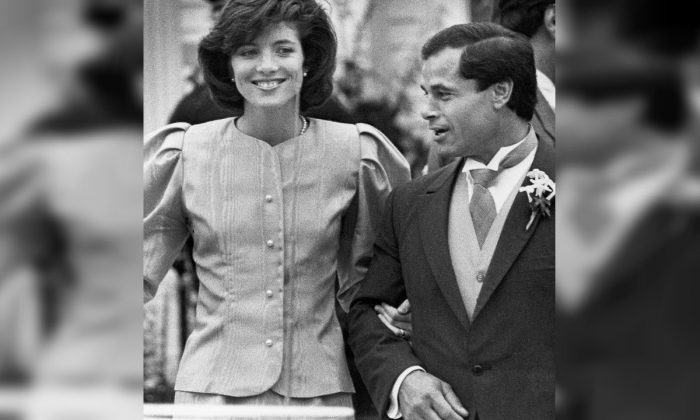 Maid of Honor Caroline Kennedy and Best Man Franco Columbu, leave St. Francis Xavier Church after the wedding of Caroline's cousin Maria Shriver to Arnold Schwarzenegger in Hyannis, Mass.. Italian ,on April 26, 1986 .(Mike Kullen, AP Photo/file)