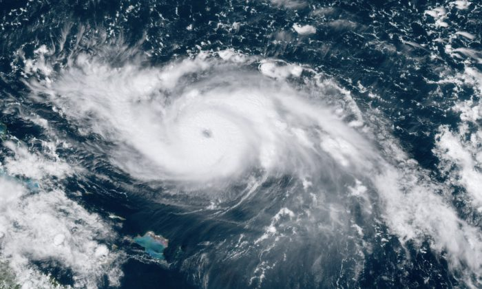 This GOES-16 satellite image shows Hurricane Dorian moving over open waters in the Atlantic Ocean on Aug. 30, 2019, at 17:30 UTC. (NOAA via AP)