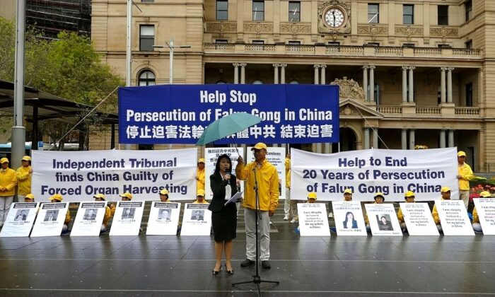 Michelle Nguyen, a committee member for International Coalition to End Organ Transplant Abuse in China, addresses people gathered in Sydney to call on the Australian government to sanction human rights violators responsible for crimes of human organ harvesting in China on Sept. 30, 2019. (The Epoch Times)