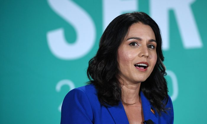Democratic presidential candidate Rep. Tulsi Gabbard (D-Hawaii) speaks during the 2020 Public Service Forum in Las Vegas, Nevada, on Aug. 3, 2019. (Ethan Miller/Getty Images)