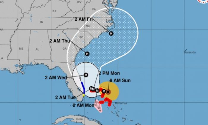 The storm is now about 25 miles east-north east of Great Abaco Island and 210 miles east of West Palm Beach, Florida. (NHC)