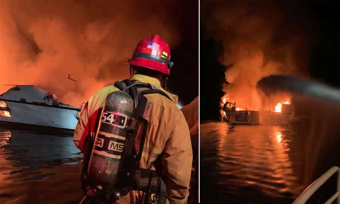 First responders from Ventura County Fire Department respond to boat fire off the north side of Santa Cruz Island on Sept. 2, 2019. (Courtesy of Ventura County Fire Department)