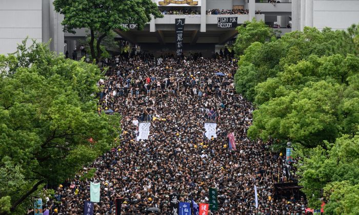 Students attend a school boycott rally at the Chinese University of Hong Kong on Sept. 2, 2019. (PHILIP FONG/AFP/Getty Images)