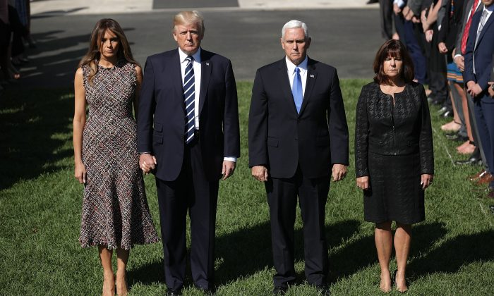 L-R: First lady Melania Trump, President Trump, Vice President Mike Pence, and Karen Pence observe a moment of silence on the South Lawn of the White House in Washington on Oct. 2, 2017. (Chip Somodevilla/Getty Images)